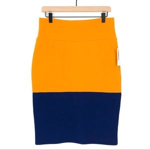 LuLaRoe Gold Navy Color Block Cassie Pencil Skirt